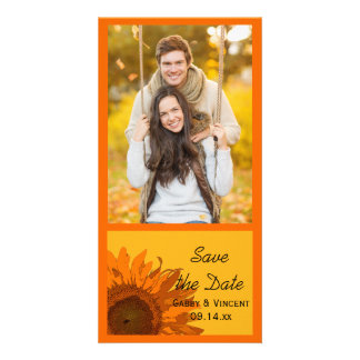Orange Sunflower on Yellow Wedding Save the Date Card