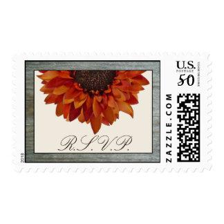 Orange Sunflower RSVP Barnwood Fall Wedding Postage