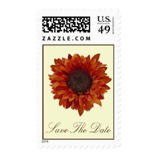 Orange Sunflower Save The Date Postage