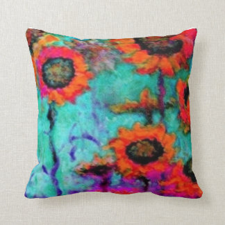 Orange Sunflowers Turquoise Pillow by Sharles