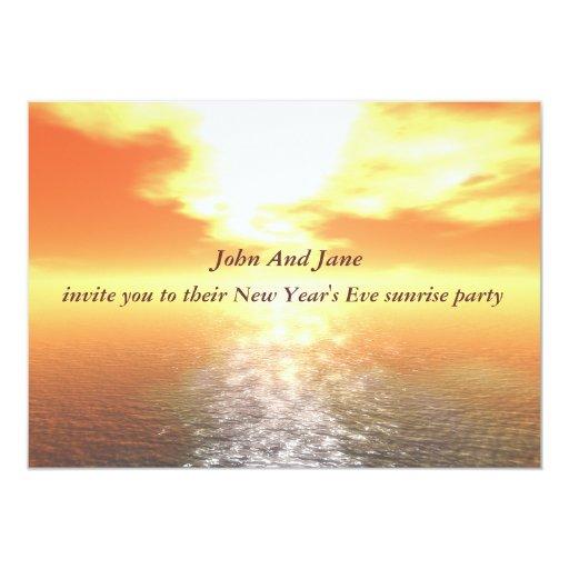 Orange Sunrise Over Sea New Year Party Invitation