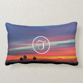 Orange sunrise photo custom monogram lumbar pillow