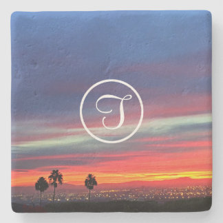 Orange sunrise photo custom monogram stone coaster