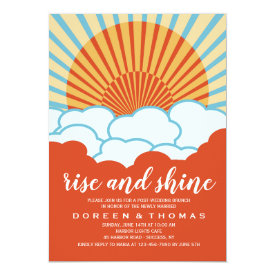 Orange Sunrise Post Wedding Brunch Invitation