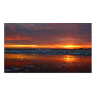 Orange sunset beach island of Texel Netherlands Business Card
