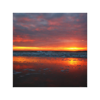Orange sunset beach island of Texel Netherlands Stretched Canvas Prints