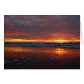 Orange sunset beach island of Texel Netherlands Card