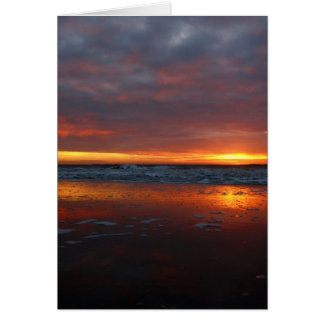 Orange sunset beach island of Texel Netherlands Greeting Cards