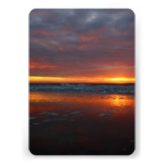Orange sunset beach island of Texel Netherlands Personalized Announcements
