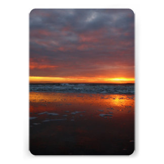 Orange sunset beach island of Texel Netherlands Custom Invite