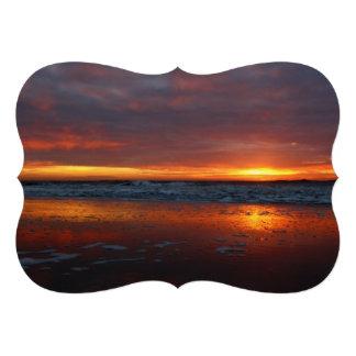 Orange sunset beach island of Texel Netherlands Custom Invitations