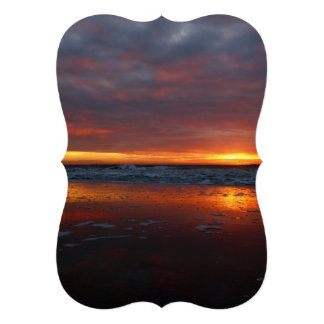 Orange sunset beach island of Texel Netherlands Invitations