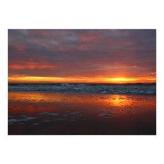 Orange sunset beach island of Texel Netherlands Custom Invites