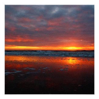 Orange sunset beach island of Texel Netherlands Personalized Invites