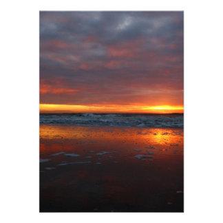 Orange sunset beach island of Texel Netherlands Personalized Invitations
