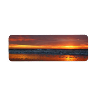 Orange sunset beach island of Texel Netherlands Custom Return Address Label