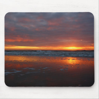 Orange sunset beach island of Texel Netherlands Mouse Pads