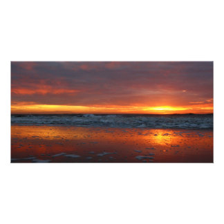 Orange sunset beach island of Texel Netherlands Personalized Photo Card
