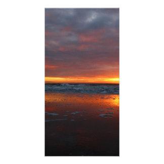 Orange sunset beach island of Texel Netherlands Photo Cards