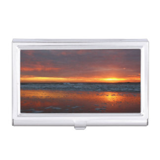 Orange sunset beach island of Texel Netherlands Business Card Holder