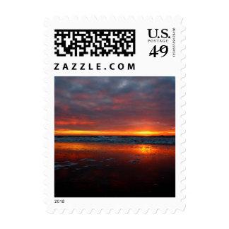 Orange sunset beach island of Texel Netherlands Postage Stamp
