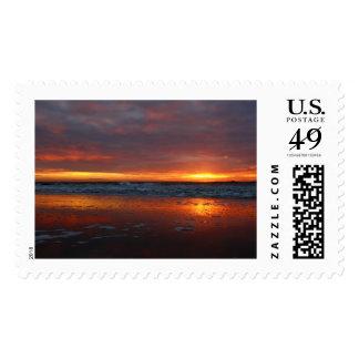 Orange sunset beach island of Texel Netherlands Stamp