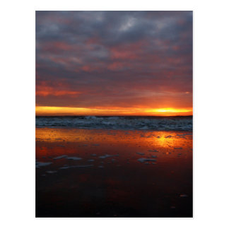 Orange sunset beach island of Texel Netherlands Post Card