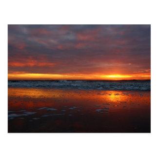 Orange sunset beach island of Texel Netherlands Postcard