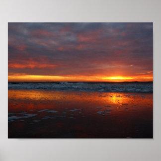 Orange sunset beach island of Texel Netherlands Poster