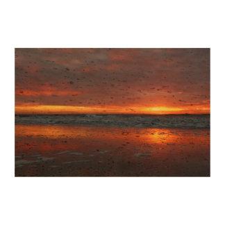 Orange sunset beach island of Texel Netherlands Photo Cork Paper