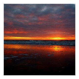 Orange sunset beach island of Texel Netherlands Perfect Poster