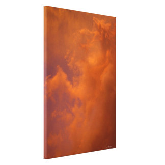 Orange sunset clouds Stretched Canvas Print