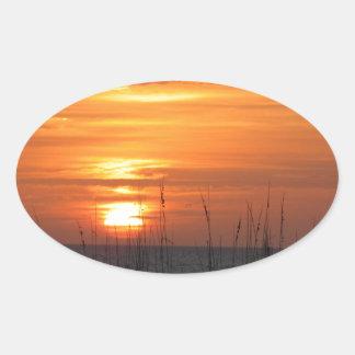 Orange Sunset Florida Oval Sticker