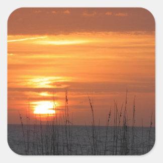 Orange Sunset Florida Square Sticker