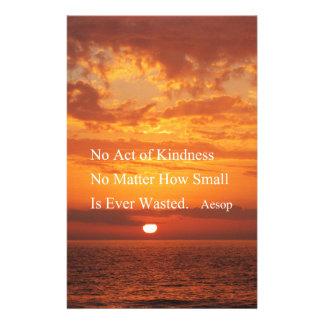 Orange Sunset Kindness quote Aesop Customized Stationery