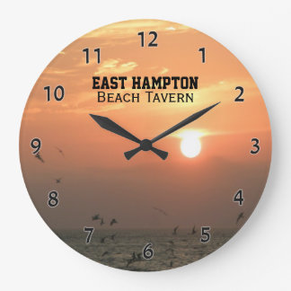 Orange Sunset Ocean Beach Custom Wall Clock