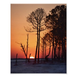 Orange Sunset on Dauphin Island, Alabama Poster