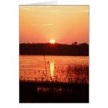Orange Sunset on the lake Card