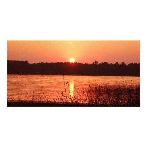 Orange Sunset on the lake Custom Photo Card