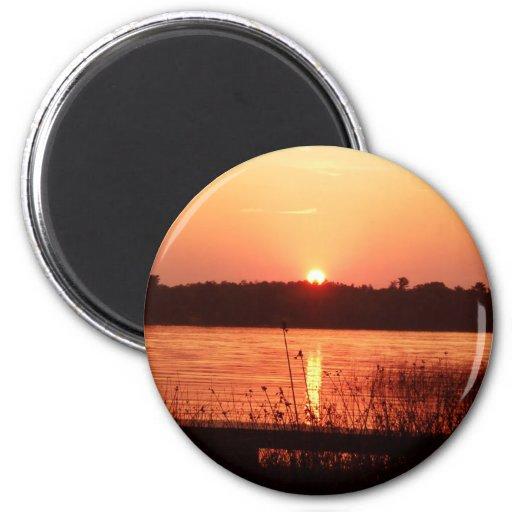 Orange Sunset on the lake Magnet
