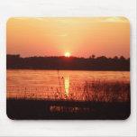 Orange Sunset on the lake Mousepads