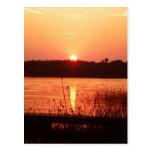 Orange Sunset on the lake Post Card