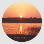 Orange Sunset on the lake Round Sticker