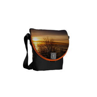 Orange sunset over the Lake Messenger Bag