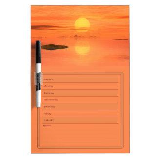 Orange Sunset Over Water Blank Week Calendar Dry Erase Boards