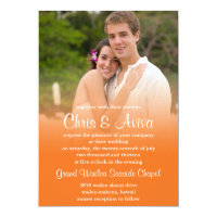 Orange Sunset Photo Invitations