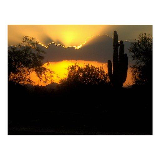 Orange sunset postcard