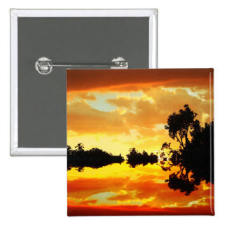 Orange Sunset Reflected in Lake Trees Silhouetted Button