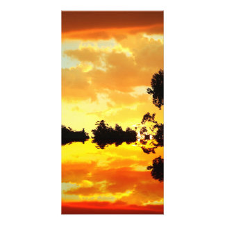 Orange Sunset Reflected in Lake Trees Silhouetted Card