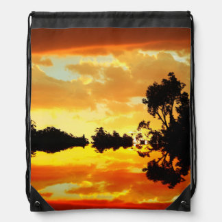 Orange Sunset Reflected in Lake Trees Silhouetted Drawstring Bag